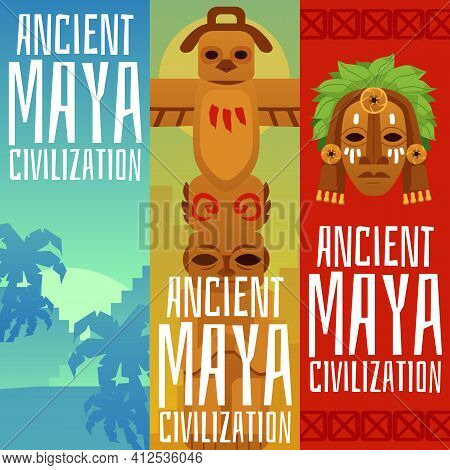 Set Of Flyers Or Posters On Top Of Maya Civilization Flat Vector Illustration.