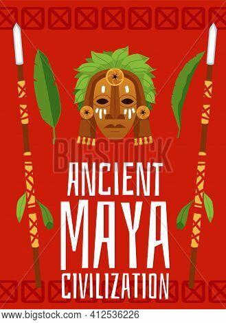Ancient Maya Civilization Poster - Traditional Cartoon Wooden Mask