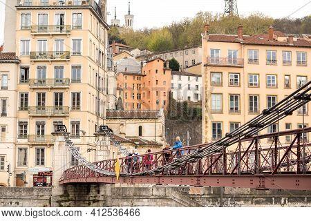 Lyon, France-april 7, 2019: The Passerelle Paul Couturier Bridge In The Saone River