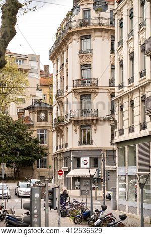 Lyon, France, April 7, 2019: The Historic City Center Of Lyon And Its Streets, France