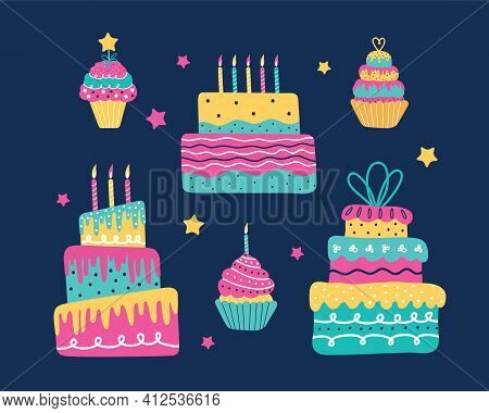 Happy Holiday Baked Cakes With Candles Vector Set. Festive Cooking Icons For Decorating, Anniversari