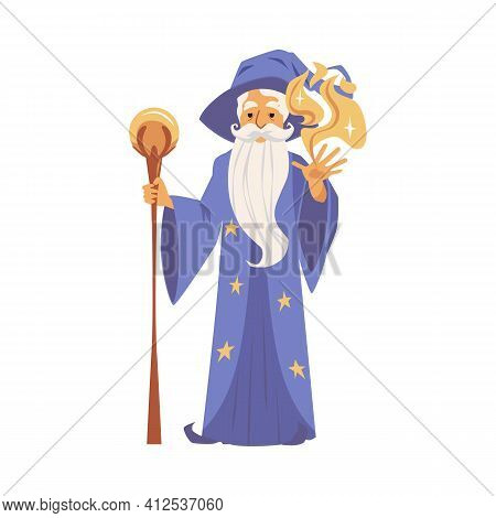 Cartoon Wizard Casting Magic Spell - Old Man With Long Beard In Robe