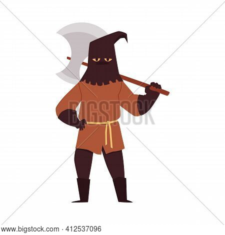 Medieval Court Executioner In Mask With Axe A Vector Isolated Illustration