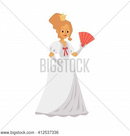 Ancient Historical Queen Or Noble Lady Flat Vector Illustration Isolated.