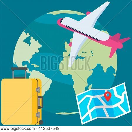 Travel Airplane, Plane Flying Around Globe. Tourist Map With Mark And Suitcase For Journey