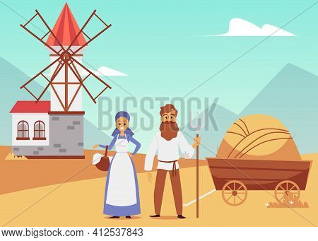 Vector Illustration Of Medieval Landscape With Windmill, Peasants And Hay Cart