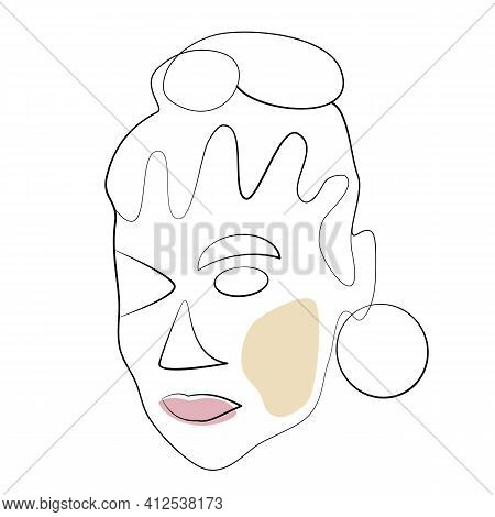Surreal Face With Earring And Pink Lips. Irregular Line And Shapes. Modern Portrait Of Female Beauty