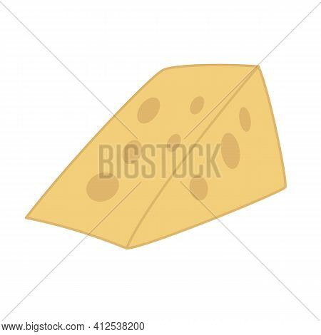 A Yellow Piece Of Hard Cheese With Holes. Cartoon Hand-drawn Vector. Dairy Products, Vitamin D, Calc