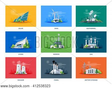 Electricity Generation Source Types. Energy Mix Solar, Water, Fossil, Wind, Nuclear, Coal, Gas, Biom