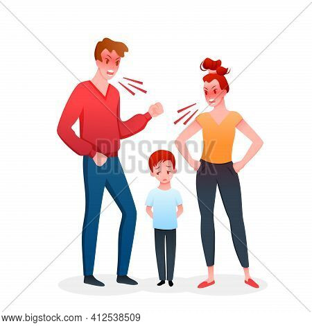 Family Parents People Quarrel, Mother And Father Quarreling Shouting, Boy Child Crying