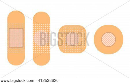 Medical Patch Set Of Illustrations. Antiseptic Patch. Flat Vector Illustration Isolated On A White B