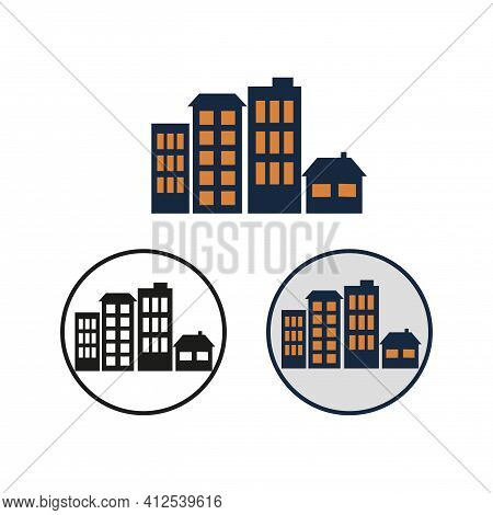 Settlement Vector Simple Icon. Round Black And White Symbol Of A City, Town Or Village