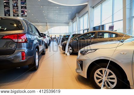 Vologda, Russia - June 18, 2019: Cars In Showroom Of Dealership Kia In Vologda In Russia