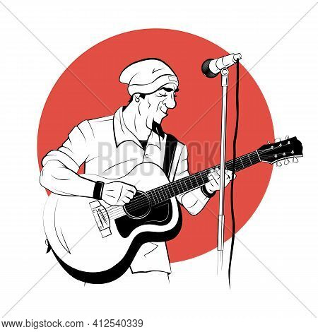 Rocker With Acoustic Guitar In Sketch Style On Red Background. Vector Illustration.