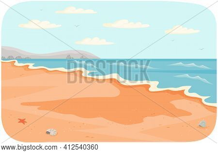 Water Covers Sandy Beach With Waves. Light Breeze At High Tide On Ocean Vector Illustration