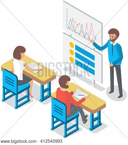 University Lecture With Professor And Students. Man Teacher Is Using Interactive Whiteboard