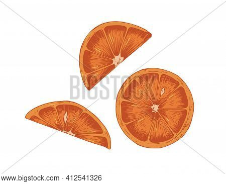 Pieces, Slices, Segments And Sections With Peel And Seeds Of Red Orange. Parts Of Dry Citrus Fruit.