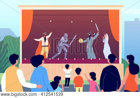 Street Theater. Culture Entertainment, Outdoor Family Art Performance. Magician Show On Stage For Ch