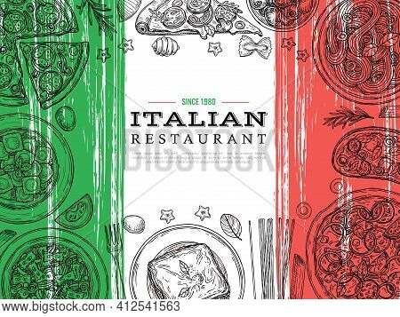 Italian Food Banner. Restaurant Menu, Vegetables And Spaghetti Sketch. Italy Cuisine, Lunch Poster W