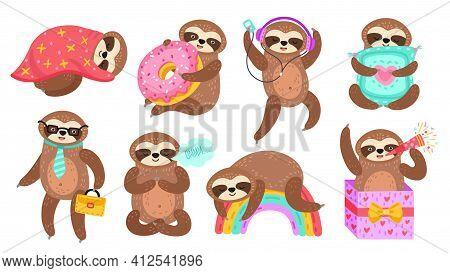 Sloth Characters. Isolated Sloths, Lazy Funny Cartoon Animal Reading. Sleep On Colorful Rainbow, Bab