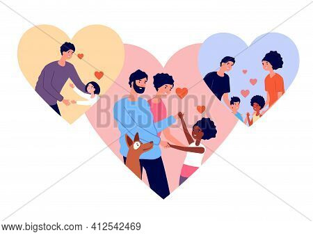 Adoption Concept. Pet And Child Adopted, Relationship Adult And Children. Love Or Charity, Cartoon P