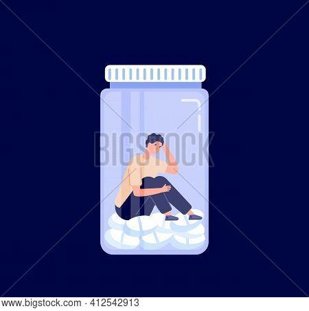 Drug Addiction. Addict Conceptual Design, Medication Drug Bottle. Man Has Depression, Drugged Crisis