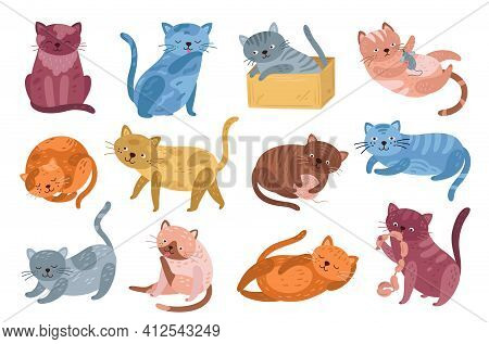 Cute Kitten. Jumping Cat, Isolated Kittens Characters Design. Cartoon Doodle Funny Fluffy Animals, G
