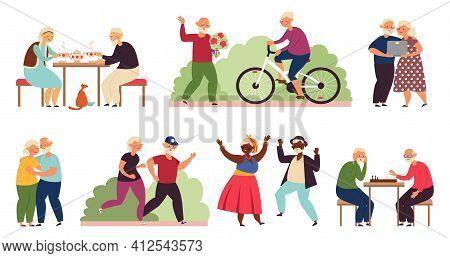 Active Old People. Senior Group Activity, Diverse Elderly Couple Party. Fun Retirement, Cartoon Danc