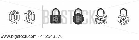 Fingerprint. Touch Security. Biometric Fingerprints Identification. Fingerprint Lock Icons. Vector I