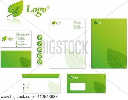 Corporate Design Stationary Modern Vector Logo Set Green Environment Organic