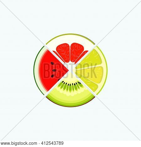 Fruit And Berry Organic Food And Juice, Round Logo. Slice Of Lime, Kiwi, Watermelon, Grapefruit. Sum