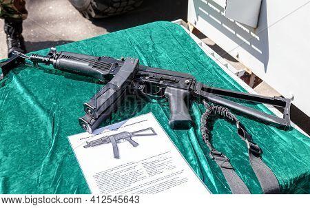 Samara, Russia - May 28, 2016: Russian Firearms. Submachine Gun Pp-19-01