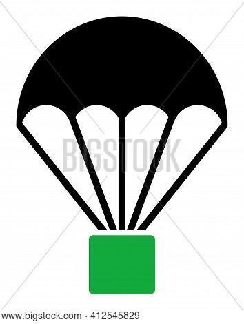 Cargo Parachute Icon. Illustration Style Is A Flat Iconic Symbol Isolated On A White Background. Sim