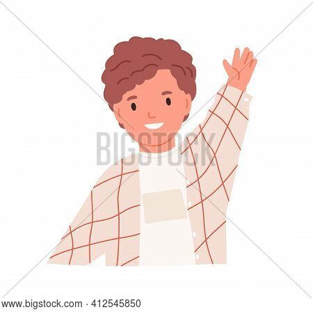 Happy Little Boy Waving With Hand, Gesturing Hi. Smiling Child Greeting Smb. Portrait Of Curly-haire