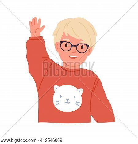 Little Boy Waving, Smiling And Saying Hi Or Bye. Scandinavian Child In Eyewear Gesturing With Hand.