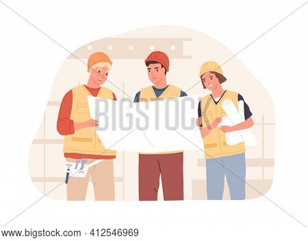 Foreman And Workers In Hard Hats At Construction Site. Builders Discussing Building Project Or Drawi