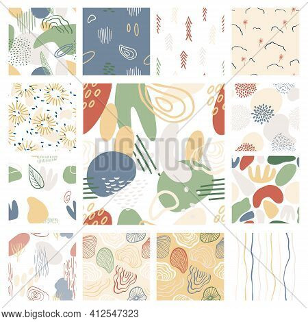 Abstract Pattern With Organic Shapes In Pastel Colors Mustard Yellow, Pink. Organic Background With