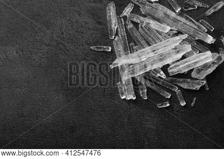 Menthol Crystals On Grey Background, Flat Lay. Space For Text