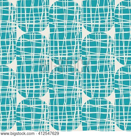 Irregular Weave Effect Vector Rectangles Seamless Pattern Background. Backdrop With Alternating Colu