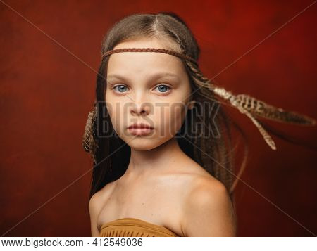 Girl With A Feather In Her Hair Savage Aboriginal Shaman Indian Tribe