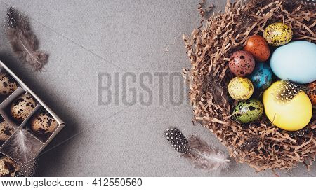 Happy Easter. Bright Congratulatory Easter Background. Top View, Flat Lay, Copy Space. Colorful East