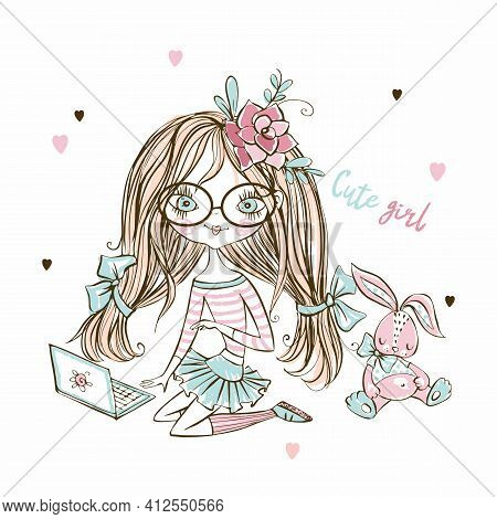 Cute Fashionista Teen Girl In With Laptop And Bunny Toy. Vector.