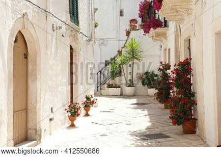 Flowery Alley In The Historic Center Of Locorotondo With White Walls In Apulia, Italy