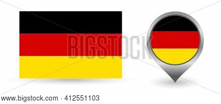 Vector Flag Germany. Location Point With Flag Germany Inside.