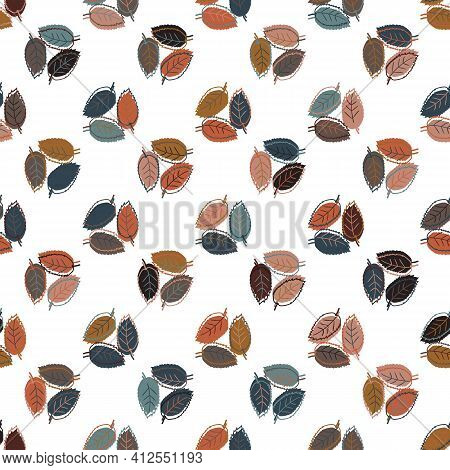 Autumn Leaves Seamless Vector Pattern Background. Trio Groups Of Hand Drawn Leaves In Fall Colors On
