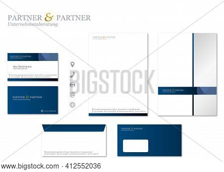 Corporate Design Stationary Modern Vector Set Management Consulting Business