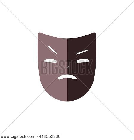 Actor Mask For Theater And Drama Flat Icon Vector Illustration