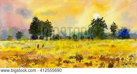 Watercolor Landscape Painting Panorama Colorful Of Natural Beauty Ricefield Trees And Farm Forest Wi