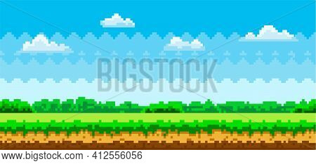 Pixel Scene With Green Grass And Forest In Distance Against Blue Sky With Clouds, Pixelated Template