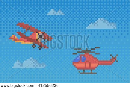 Pixel Helicopter And Plane For Old Pixel-game Design Layout. Air Transport Flying In Blue Sky